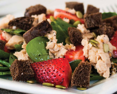 Spinach Strawberry Salmon Salad